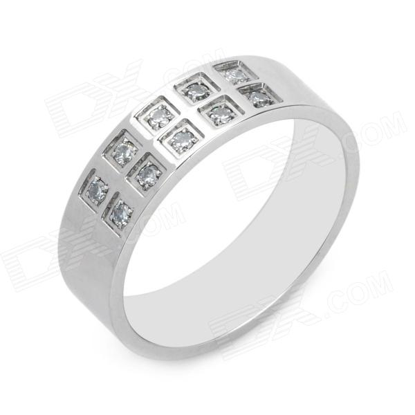 Mayan Totem 316L Stainless Steel Artificial Diamond Men's Ring - Silver (Size-US10)