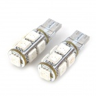 SENCART T10 1.8W 117lm 590nm 9-SMD 5050 LED Yellow Light Car Indicator Lamp - White (12V / 2 PCS)