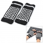 Pineapple Style Warm Fingerless Computer Typing Woolen Gloves for Women - Black (Pair / Free-Size)