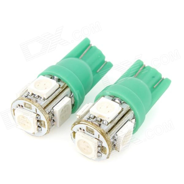 T10 1.5W 115lm 5-SMD 5050 LED Green Light Motorcycle Instrument Lamp - Green + White (12V / 2 PCS)