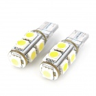 SENCART T10 1.8W 117lm 9-SMD 5050 LED White Light Car Indicator Lamp - White + Yellow (12V / 2 PCS)