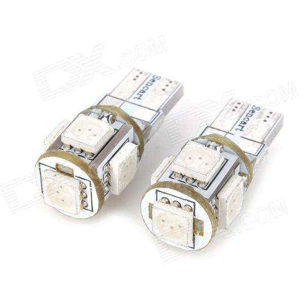 SENCART T10 1.25W 72lm 590nm 13-SMD 5050 LED Yellow Light Car Indicator Lamp - White (12V / 2 PCS)