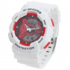 G-SHORS YQ-11 Sport Rubber Band Quartz Analog + Digital Waterproof Wrist Watch - White + Red