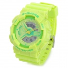 G-SHORS YQ-11 Sport Rubber Band Quartz Analog + Digital Waterproof Wrist Watch - Light Green