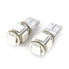 SENCART T10 1.25W 72lm 700nm 5-SMD 5050 LED Red Light Car Indicator Lamp - White (12V / 2 PCS)