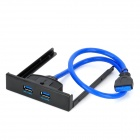 2-Port USB 3.0 Front Panel Floppy Bay Hub w/ 20-Pin USB 3.0 Bracket Cable - Black + Blue