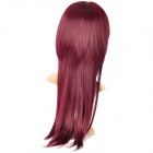 ZX-590A 2/M118L Fashionable Oblique Bangs Long Hair Wig - Red Wine Color