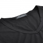 Fashion V Collar Man's Cotton Long Sleeve Under T-shirt - Black