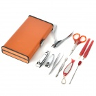 Portable Stainless Steel 10-in-1 Nail Care Tools Set w/ Case - Red + Silver