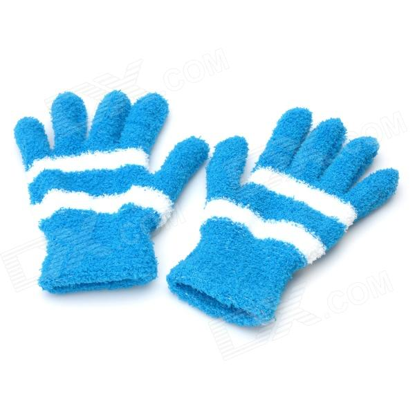 Warm Coral Fleece Thickened Stripe Gloves - Blue + White (Pair / Free-Size)