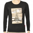 Fashion Man's Cotton Long Sleeve T-shirt - Black