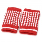Pineapple Style Warm Fingerless Computer Typing Woolen Gloves for Women - Red (Pair / Free-Size)