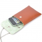 Protective PU Leather Cell Phone Pouch Bag / Wallet w/ Alloy Chain - Brown + Silver (60cm-Chain)