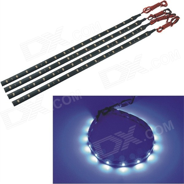 Waterproof Flexible 2.25W 120lm 15-SMD 1210 LED Blue Car Decoration Lights (12V / 4PCS)