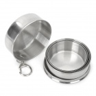 Portable Stainless Steel 4-Fold Folding Cup w/ Keychain - Silver (220ml)