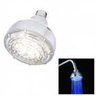 "Water Flow Power Generation Blue LED 4"" Round Shower Head - Silver"