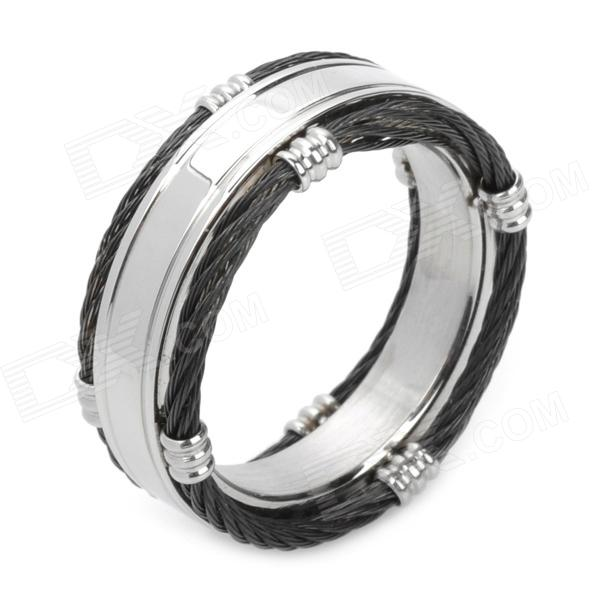 Rolling Wheel Style 316L Stainless Steel Ring for Men - Silver + Black (US12)
