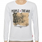 War Pattern Fashion Man's Cotton Long Sleeve T-shirt - White