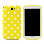 Polka Dot Pattern Protective Silicone Back Case for Samsung Galaxy Note 2 N7100 - White + Yellow