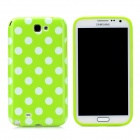 Polka Dot Pattern Protective Silicone Back Case for Samsung Galaxy Note 2 N7100 - White + Green