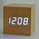 Modern USB/4 x AAA Powered Wooden Blue LED Alarm Clock w/ Temperature Display - Wood Color