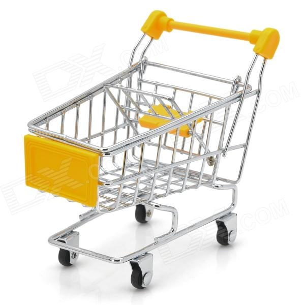 creative-mini-steel-table-top-shopping-trolley-yellow-silver