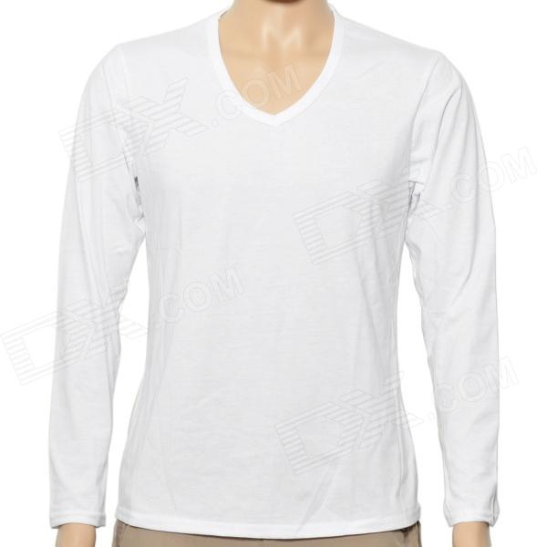 Fashion V Collar Man's Cotton Long Sleeve Under T-shirt - White