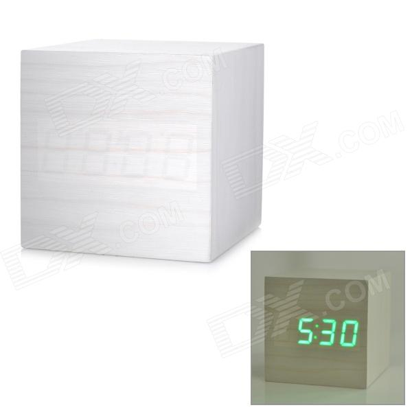 Modern USB/4 x AAA Powered Wooden Green LED Alarm Clock w/ Temperature Display - White