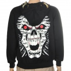 Skull Pattern Cool Man's Glow-in-the-Dark Cotton Warm Coat w/ Hat + Zipper - Black (Size L)