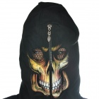Skull Guitar Pattern Cool Man's Glow-in-the-Dark Cotton Warm Coat w/ Hat + Zipper - Black (Size L)