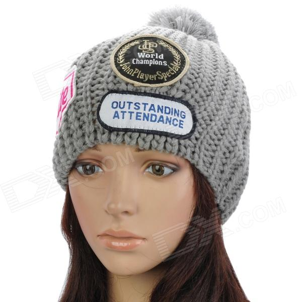 Fashion Casual Acrylic Wool Knitting Warm Hat - Grey