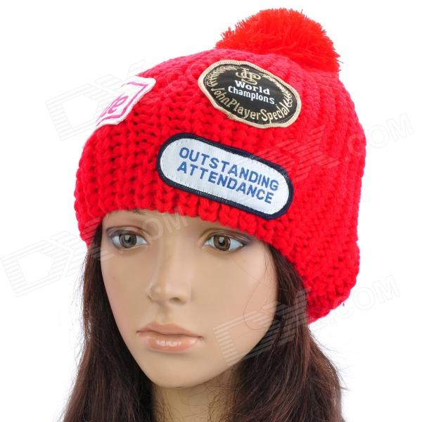 Fashion Casual Acrylic Wool Knitting Warm Hat - Red
