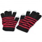 Stripes Pattern Capacitive Touch Screen Protective Wool Gloves for Cell Phone - Black + Red (Pair)