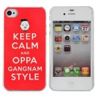 Psy Keep Calm and Oppa Gangnam Style Protective Plastic Back Case for iPhone 4 / 4S - Red