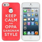 Psy Keep Calm and oppa Gangnam Style Protective Plastic Back Case for iPhone 5 - Red