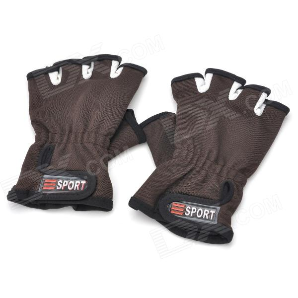 Sports Antiskid Palm Fingerless Half Polyester Gloves - Coffee + Black (Pair / Free Size)