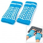 Pineapple Style Warm Fingerless Computer Typing Woolen Gloves for Women - Blue (Pair / Free-Size)