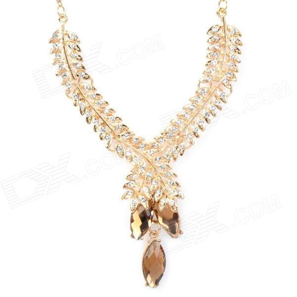 Party Queen Elegant Aluminum Alloy Czech Stone Pendant Necklace - Champagne (44cm)