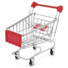 Creative Mini Steel Table Top Shopping Trolley - Red + Silver