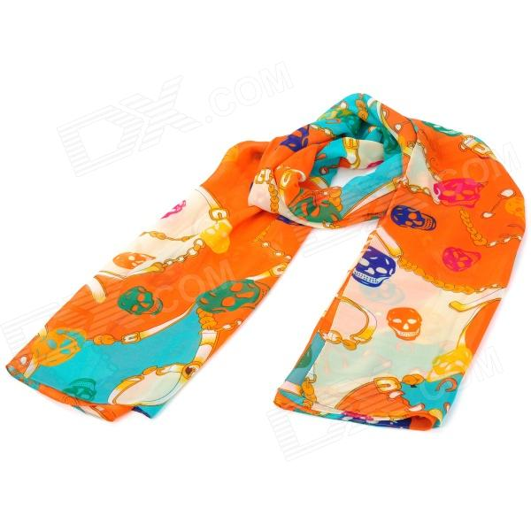 Skull Pattern Fashion Chiffon Scarf Shawl - Orange skull pattern fashion chiffon scarf shawl orange