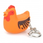 Cute Hen Style Flashlight Keychain w/ 1-White LED / Sound Effect - Orange(3 x AG10)