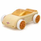 Creative Craft Mini Wooden Block Assembly Car Toy - Beige + Golden