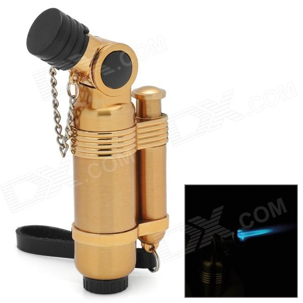 Windproof Stainless Steel Butane Jet Torch Lighter with Cap - Golden