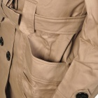 Fashion Woman's Cotton Coat Jacket w/ Double Breasted + Side Front Pocket - Khaki (Size M)