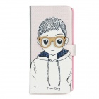 Glasses Boy Pattern Protective Flip-Open PU Leather Plastic Case for Iphone 5 - Black + White + Pink