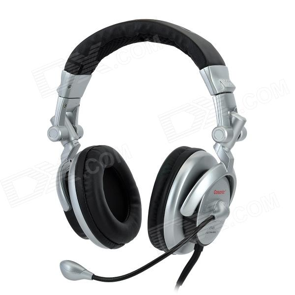 COSONIC CT-890 Super Bass Stereo Headphones w/ Microphone - Silver + Black 1more super bass headphones black and red