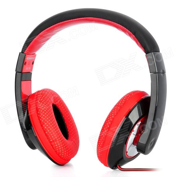 Kanen MC780 Stylish Headphones w/ External Microphone - Black + Red (3.5mm Plug / 112cm) 1more super bass headphones black and red