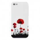 Hotsion I5-04 Flower Pattern Protective Plastic Back Case for Iphone 5 - White + Red + Black