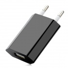 EU Plug USB Charging Adapter - Black