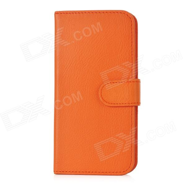 Fashion Protective PU + PC Flip-Open Case w/ Card Slots for Iphone 5 - Orange protective flip open pu case w stand card slots for samsung galaxy s4 active i9295 black